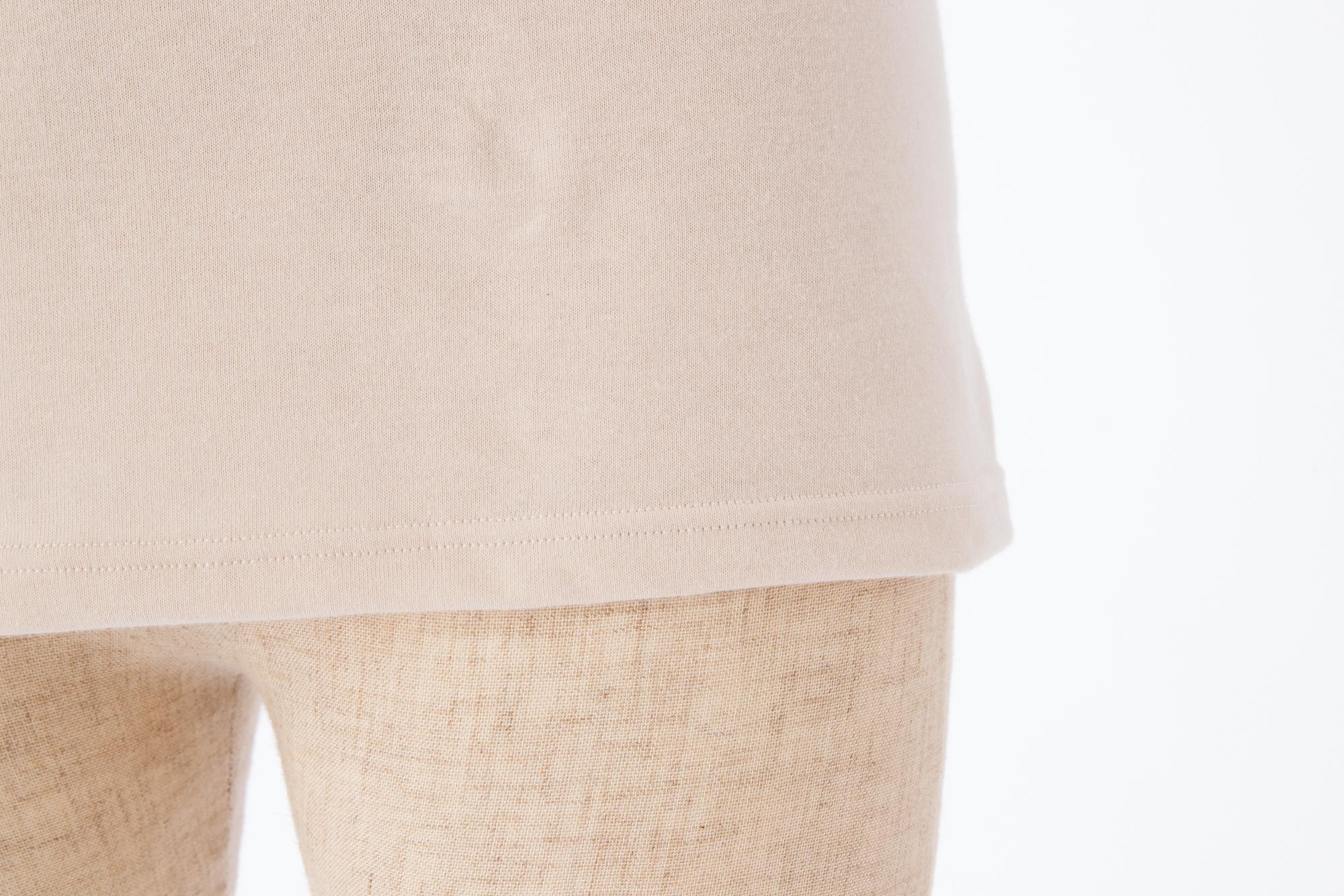 肌に優しい綿100%インナー 裾も折り返し